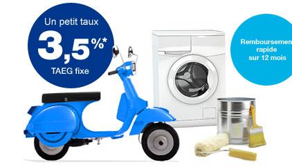 Un petit taux 3,5 %* TAEG fixe + Remboursement rapide sur 12 mois.